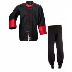 Kung Fu-pak katoen zwart/rood